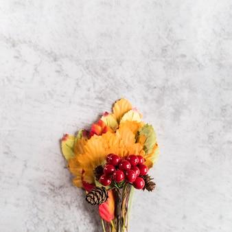 Bando de folhas e frutos na superfície surrada