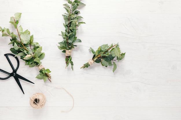 Bando de galhos de plantas amarrado com barbante e tesoura sobre fundo branco