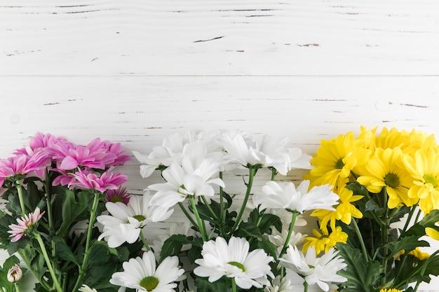 Bando de rosa; flores de crisântemo amarelo e branco no pano de fundo texturizado de madeira branca