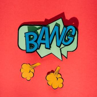 Bang bolha de discurso de efeito sonoro de texto em quadrinhos na arte de estilo retrô pop