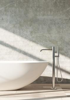 Banheira branca em pé em um banheiro moderno. renderização em 3d. .