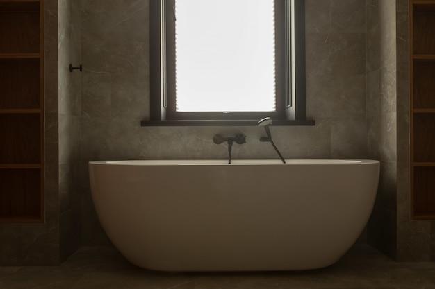 Banheira de imersão moderna de acrílico com chuveiro de mão