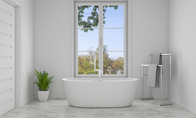 Banheira interior de casa de banho, renderização em 3d