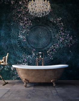 Banheira luxuosa em pé em um banheiro caro.