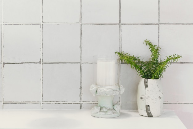 Banheiro, banheiro, ou, banheiro, natureza, decoração, com, cerâmico, vitrificado, azulejo