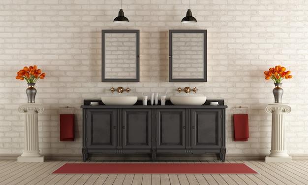 Banheiro clássico com lavatório duplo