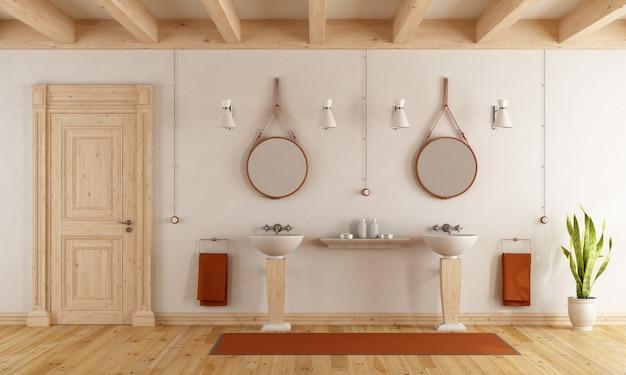 Banheiro clássico com lavatórios