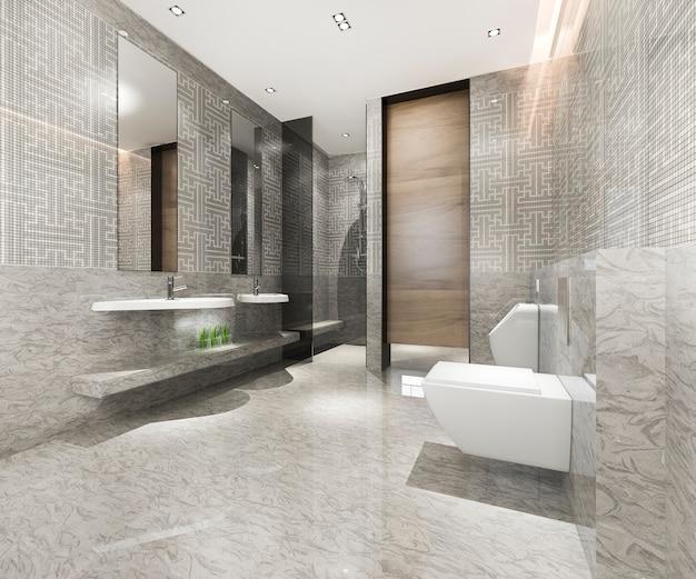 Banheiro clássico moderno com decoração luxuosa em azulejos
