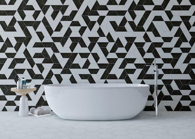 Banheiro com banheira e design de parede