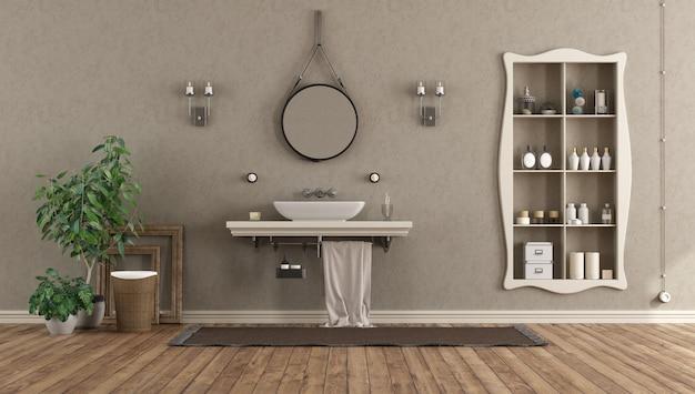 Banheiro com lavatório na prateleira em estilo clássico