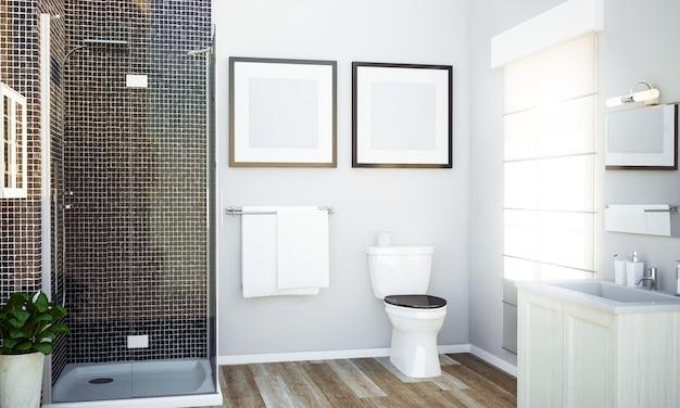 Banheiro com maquete de duas molduras brancas