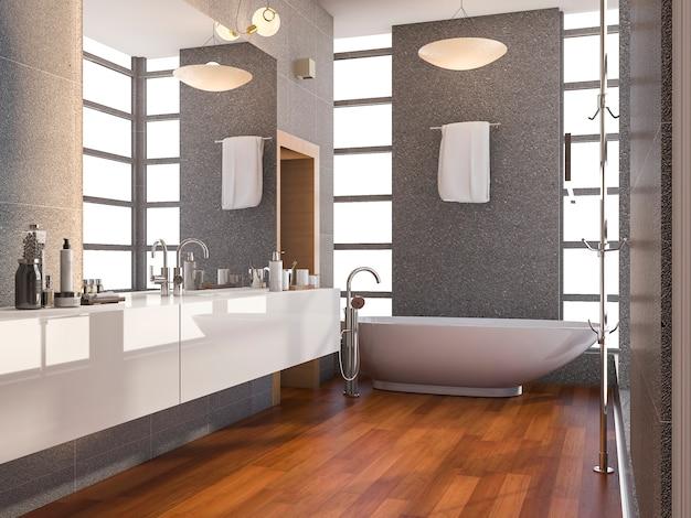 Banheiro com piso de madeira e ladrilhos de pedra