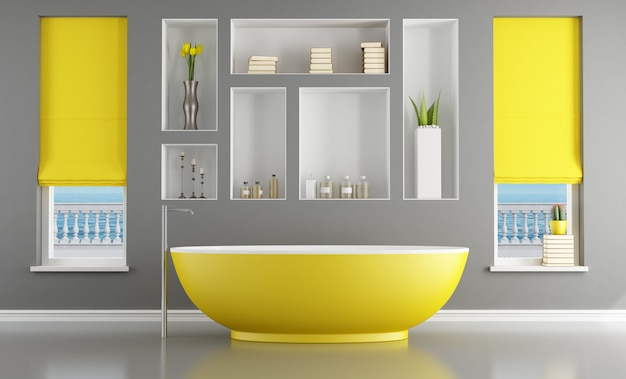 Banheiro contemporâneo com banheira amarela