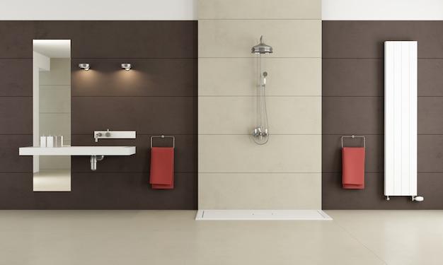 Banheiro contemporâneo com chuveiro e lavatório