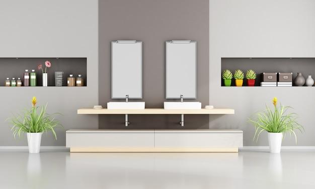 Banheiro contemporâneo com lavatório duplo