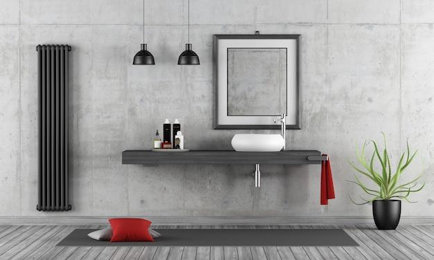 Banheiro de concreto minimalista com whasbain na prateleira