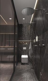 Banheiro de design de interiores moderno minimalista com divisória de vidro.