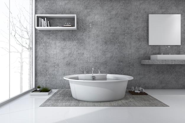 Banheiro de estilo loft de renderização 3d com vista para o inverno