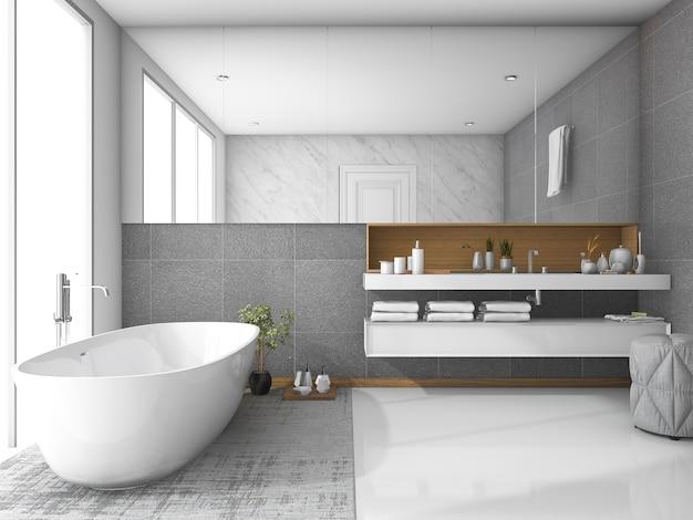 Banheiro de luxo branco de renderização 3d