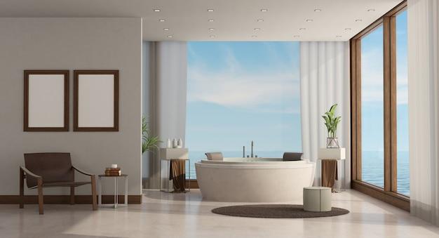Banheiro de luxo minimalista de uma casa do mar