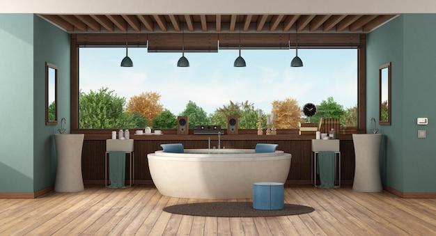 Banheiro de luxo verde com banheira redonda