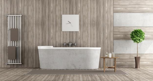 Banheiro de madeira e concreto com banheira