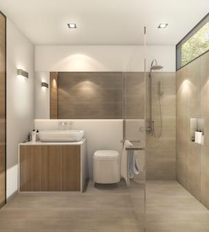 Banheiro de tom morno de renderização 3d com bela telha e decoração
