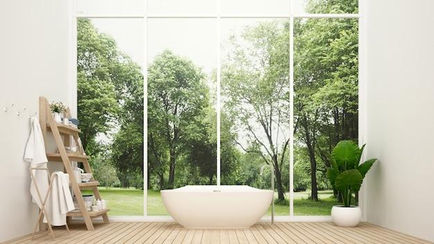 Banheiro e vista da floresta no hotel
