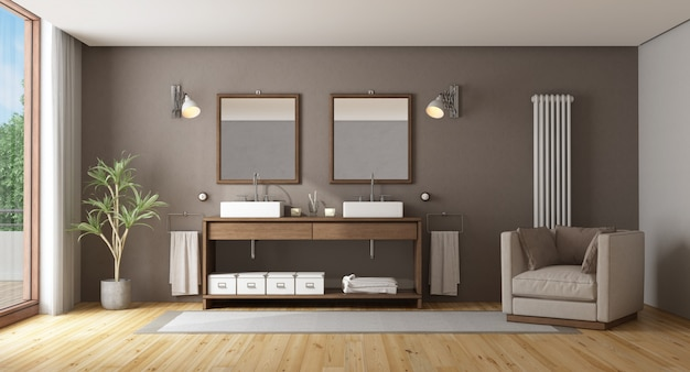 Banheiro elegante com lavatório duplo