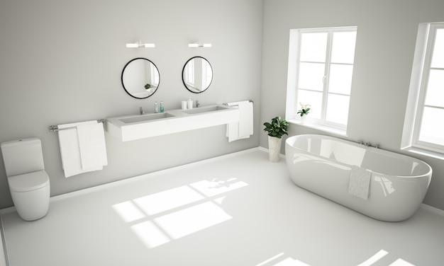 Banheiro elegante em tons de cinza
