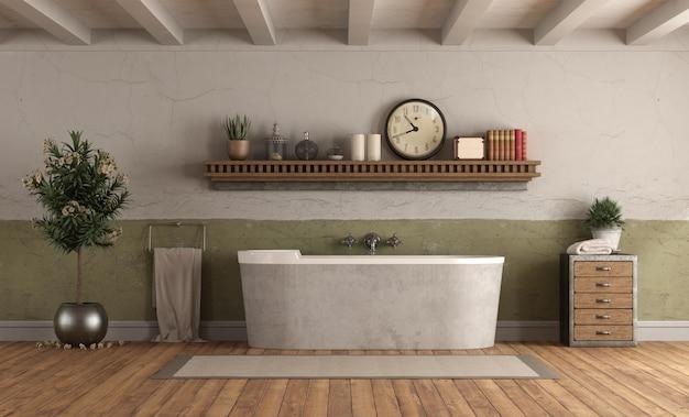 Banheiro em estilo rerto com banheira