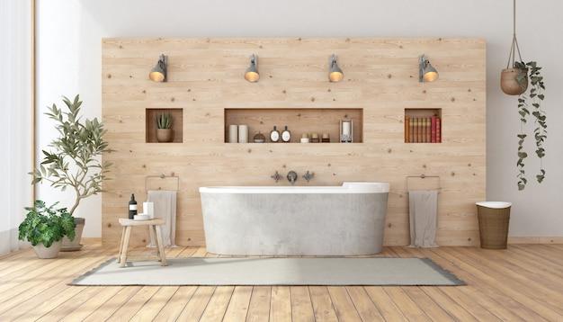Banheiro em estilo rústico com banheira