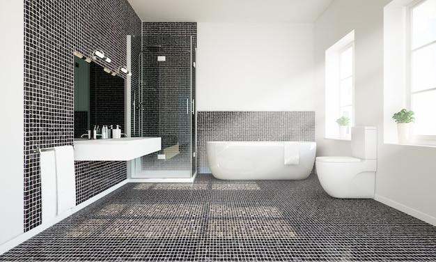 Banheiro espaçoso em azulejo