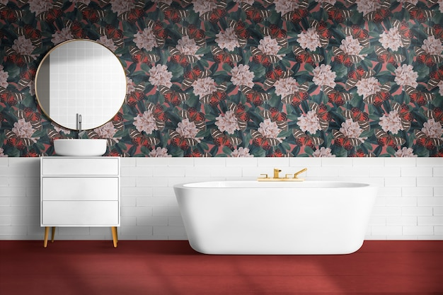 Banheiro floral com design de interiores autêntico
