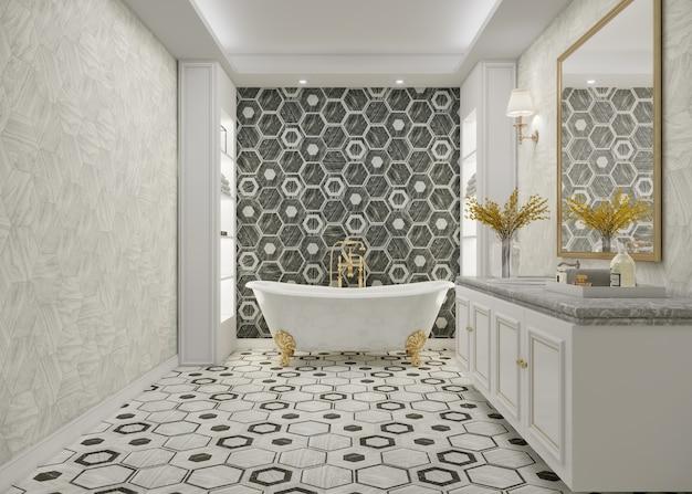 Banheiro luxuoso com banheira e design de parede