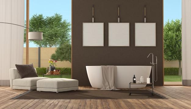 Banheiro marrom moderno com banheira