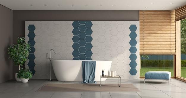 Banheiro minimalista com banheira e parede de azulejos hexagonais - renderização em 3d