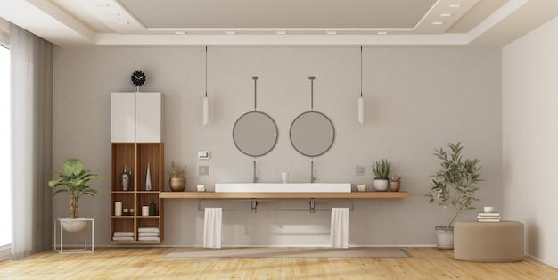 Banheiro minimalista com lavatório duplo