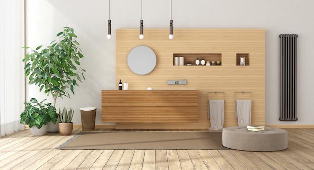 Banheiro minimalista com móveis de madeira