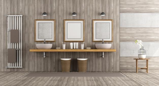 Banheiro minimalista de madeira e concreto