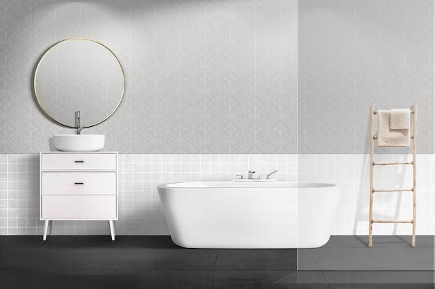 Banheiro minimalista e autêntico design de interiores