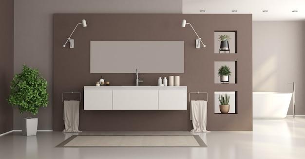 Banheiro minimalista em branco e marrom com lavatório e banheira