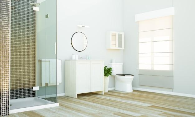 Banheiro mínimo com luz da manhã
