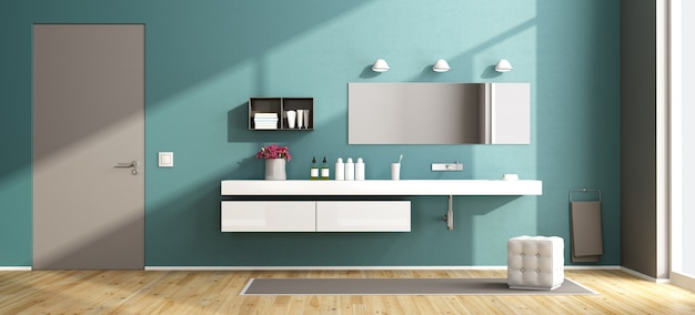 Banheiro moderno azul