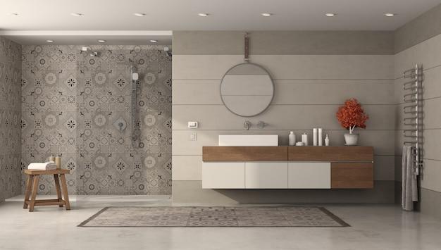 Banheiro moderno com chuveiro e lavatório
