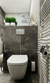 Banheiro moderno com ladrilhos sob concreto e ladrilho ondulado