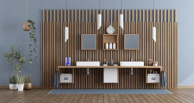 Banheiro moderno com lavatório duplo