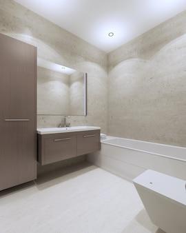 Banheiro moderno com móveis em marrom, espelho grande, piso laminado branco
