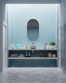 Banheiro moderno com parede azul