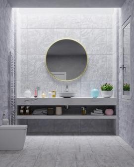 Banheiro moderno com parede de cimento